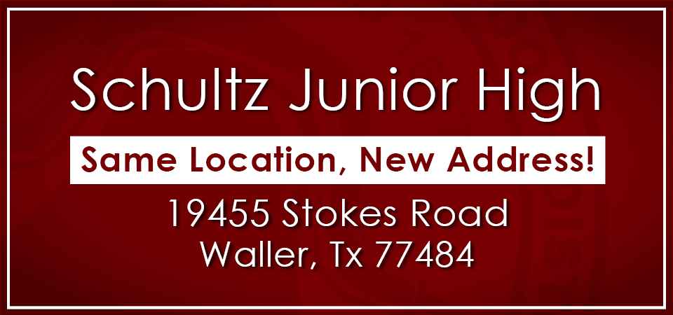 Schultz Junior High Address Change banner
