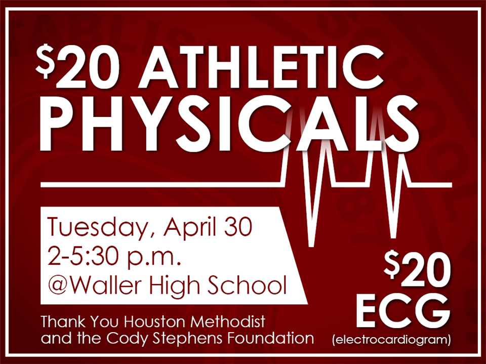 Waller ISD Athletic Physicals banner