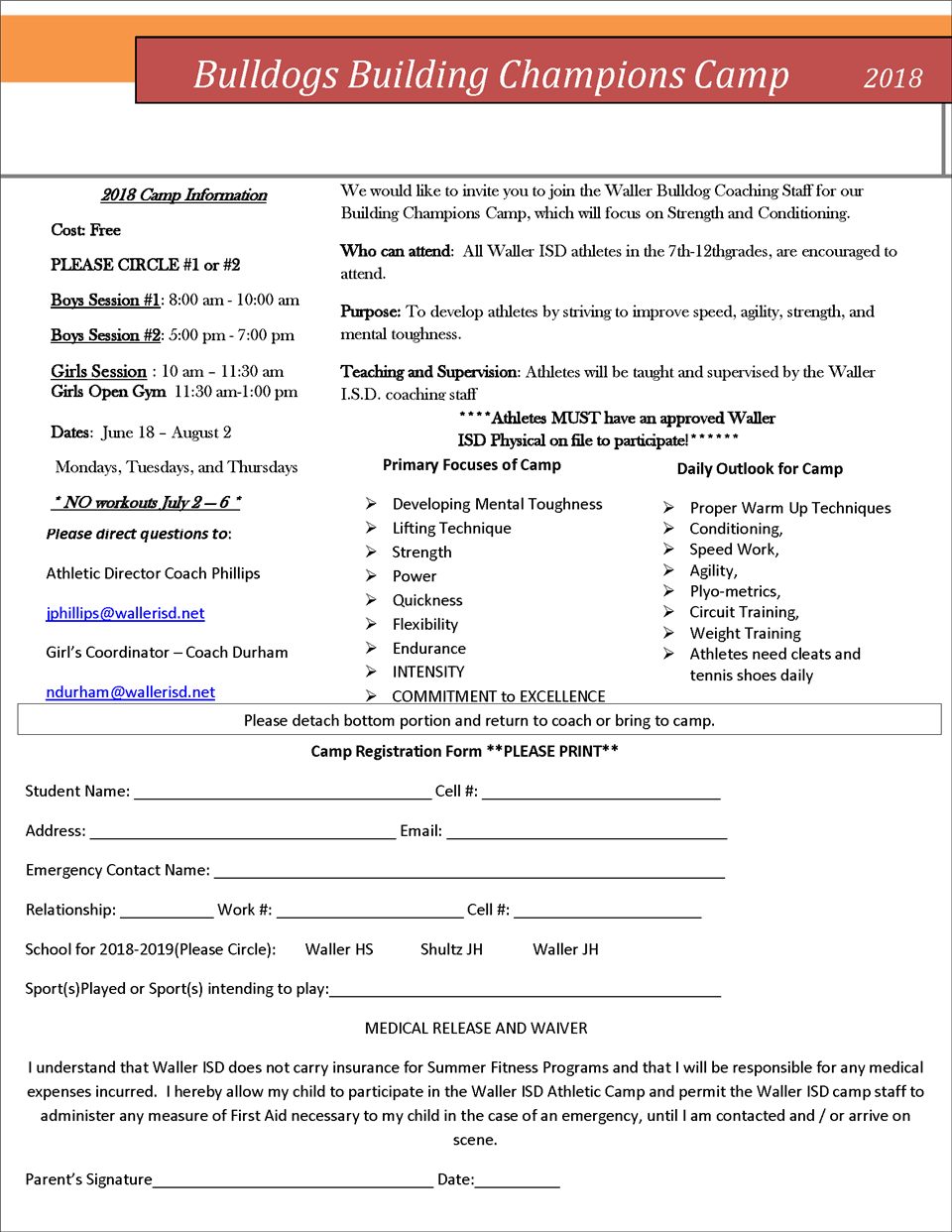 Waller ISD Bulldog Camp flyer