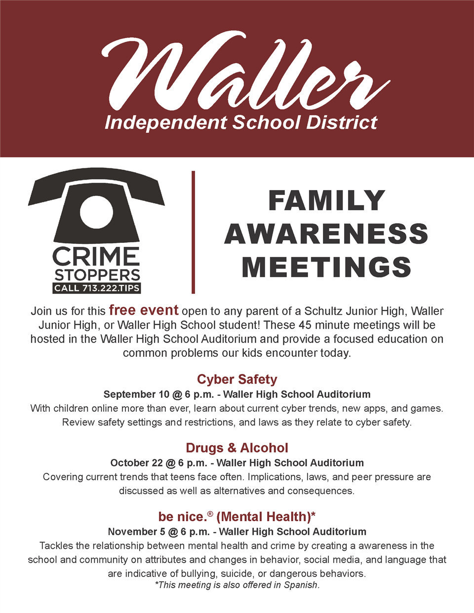 Crime Stoppers Family Awareness Meeting